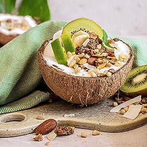 nu3 Fit Protein Muesli - Avena con proteína sabor Coconut Crunch - 450 g de muesli proteico con coco, almendras, guaraná y matcha - 36% de proteínas y ...