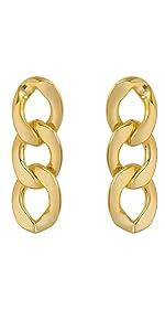 gold dangle drop earrings statement chunky oval cuban link statement chunky women girls hypoallergen