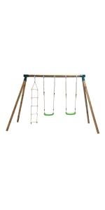 Columpio Triple de madera con dos asientos de plástico planos y un ...