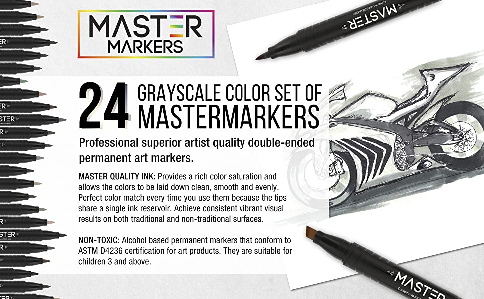 24 Color Master Markers Gray Tone Set Dual Tip Chisel Brush Grayscale Art Sketch