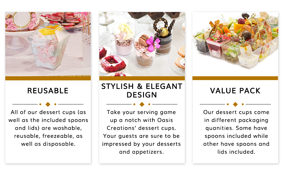 These dessert serving cups are stylish and elegant