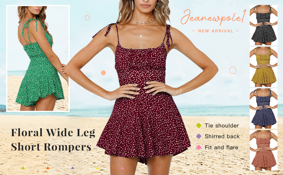womens floral wide leg short rompers