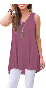 mauve sleeveless women's tunic tank for summer with leggings pants jeans