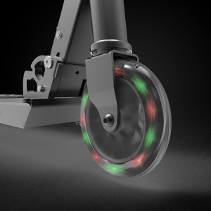The front wheel lights up with colorful LEDs