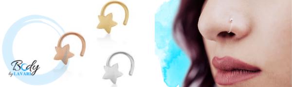 Lavari Jewelers - 10 Karat Star Nose Ring in White, Yellow, and Rose Gold 2mm Set - Women's
