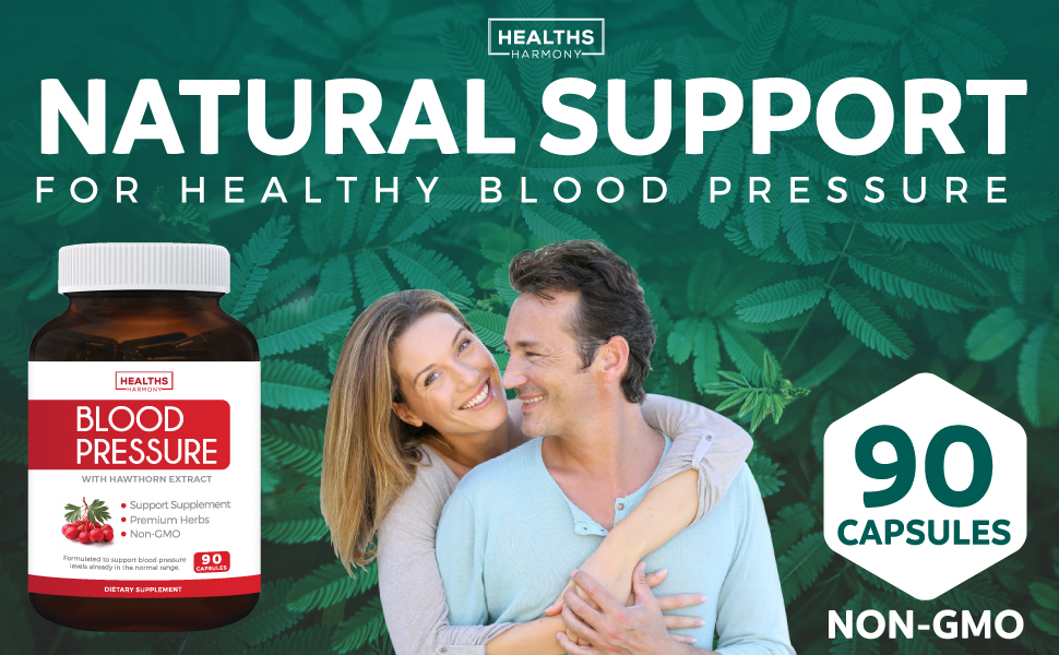 Blood Pressure Support Supplement - Natural Herbs, Vitamins & Berries - With Hawthorn Extract