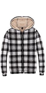 Women's Plaid Flannel Shirt Sherpa Fleece Hoodies Full Zip Sweatshirt Jacket