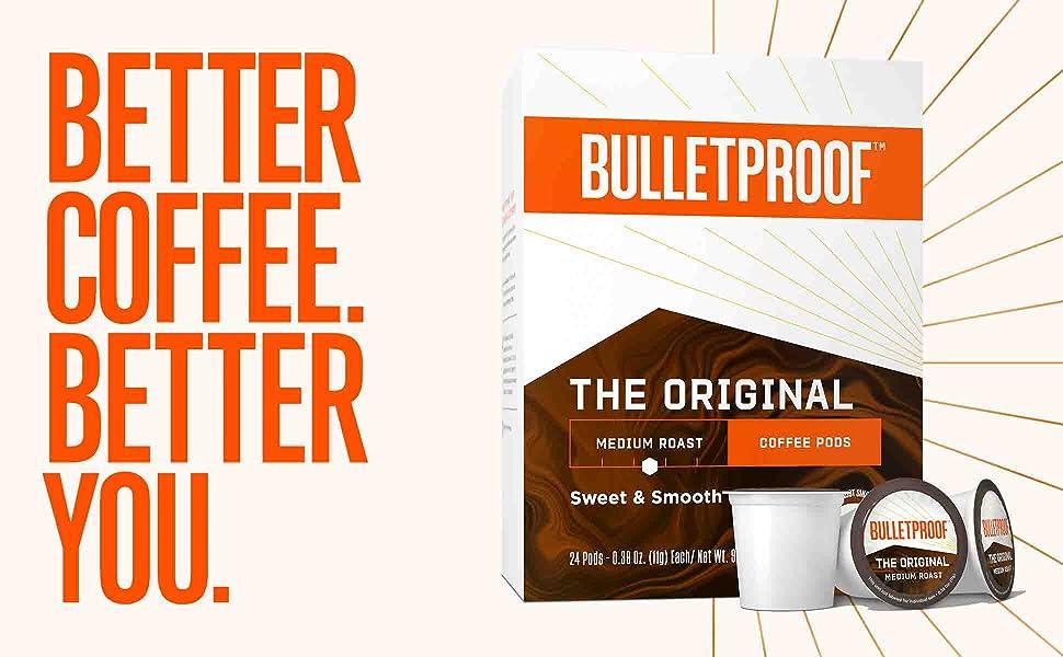 The Original Single Serve Pods Medium Roast 24 Count Bulletproof Keto 100 Arabica Coffee Certified Clean Coffee Rainforest Alliance Sourced From Guatemala Colombia Brazil Amazon Com Grocery Gourmet Food