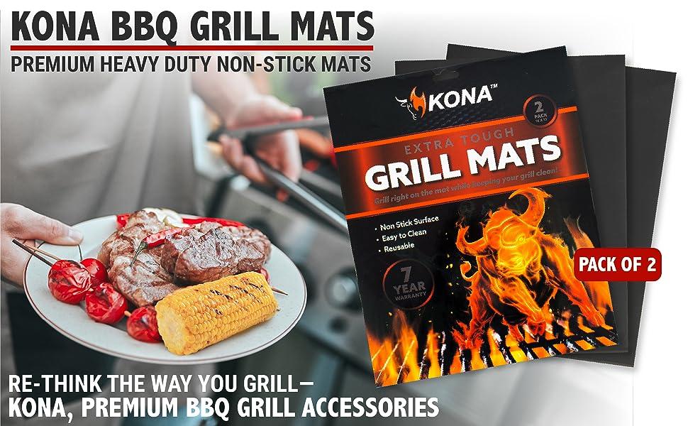 KONA BBQ GRILL MATS. Premium Heavy Duty Non-Stick Mats. Re-think the way you grill-KONA, Premium BBQ