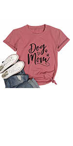Dog Mom T-shirt Women Pink