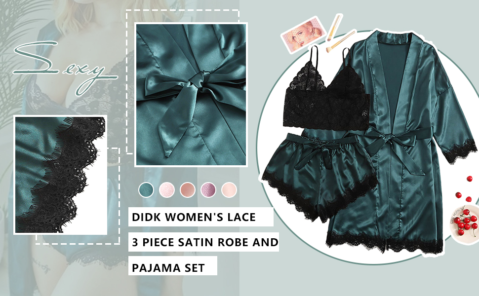 lace stain robe set