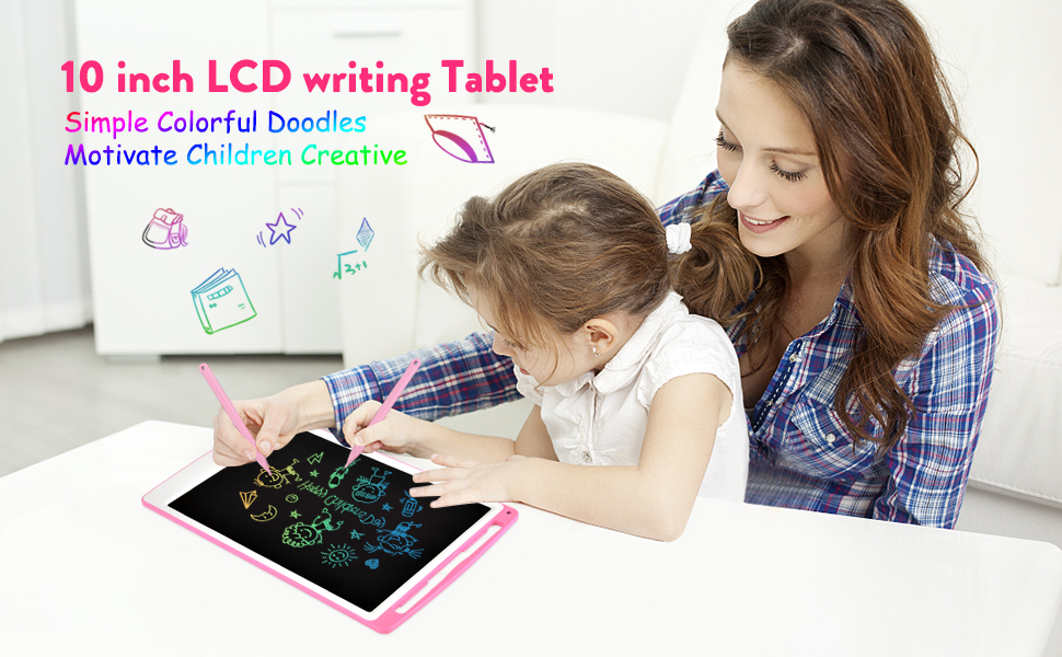 10 inch LCD writing Tablet Simple Colorful Doodles Motivate Children Creative