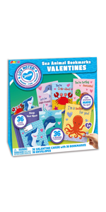 36 pack Valentines Day Gift Cards with Sea Animal Bookmarks