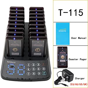 Retekess T115 Restaurant Pager System Anrufsystem 99 Kanal Wasserdichte Keypad Sender Mit 18 Wiederaufladbare Pager In Coffee Snack Bar Tierklinik Elektronik