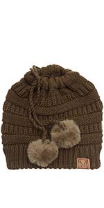 MIRMARU Women's Ponytail Messy Bun Beanie Ribbed Knit Hat Cap with Adjustable Pom Pom String