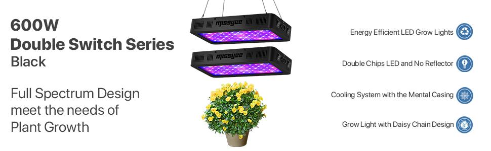 600W Led Grow Light Missyee 2 Pack Full Spectrum Uv Ir Bloom Double Switch Plant