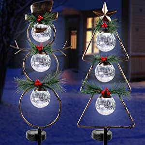 MAGGIFT Christmas Outdoor Solar Stake Lights, 42.5 Inch Solar Powered Yard Decorations