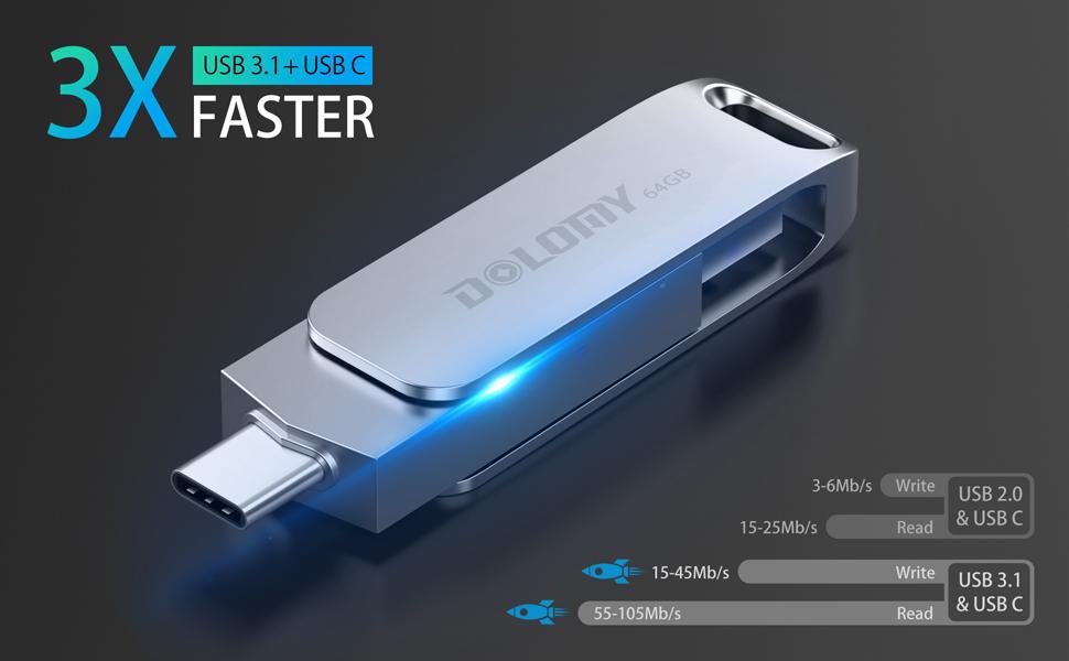 64GB USB 3.1USB C Flash Drive, 2 in 1 OTG Dual Jump Drive, Metal USB C Memory Stick for MacBook Pro