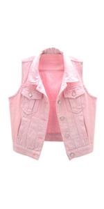 women's pink denim vest