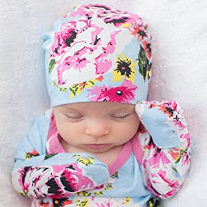 Baby gown with matching hats and fold over cuffs