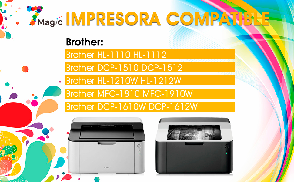 7Magic Compatible Cartucho de Tóner para Brother TN1050 TN 1050 ...