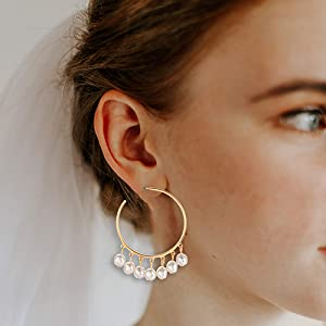 Beaded Crochet Double Hoop Earrings perfect for weddings or night out