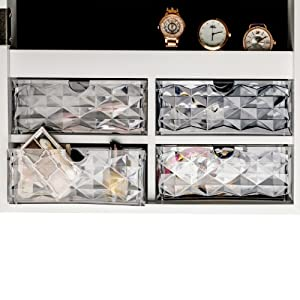 Clear Stylish Drawers for jewelry cabinet wall mounted