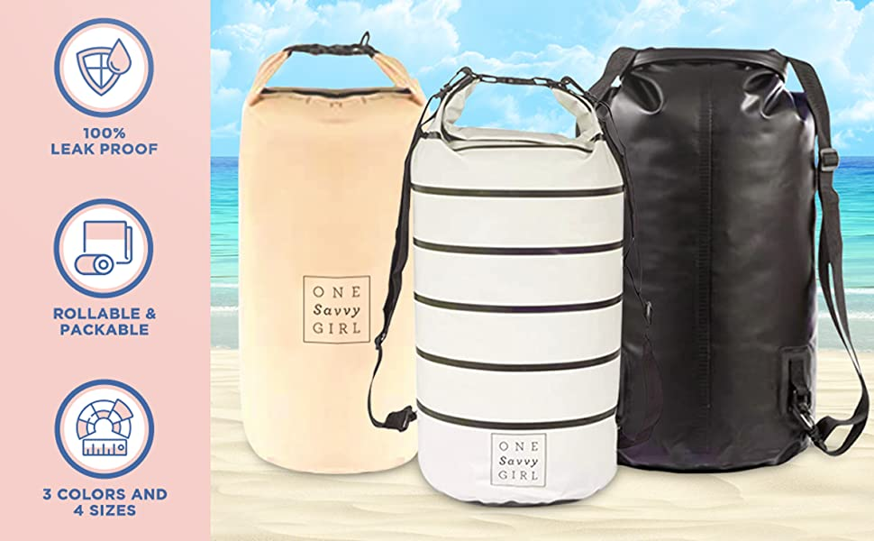 dry bag waterproof durable sizes colors beach camping hiking outdoors