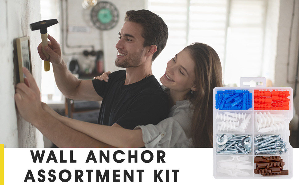 The kit includes varieties of screws and anchors
