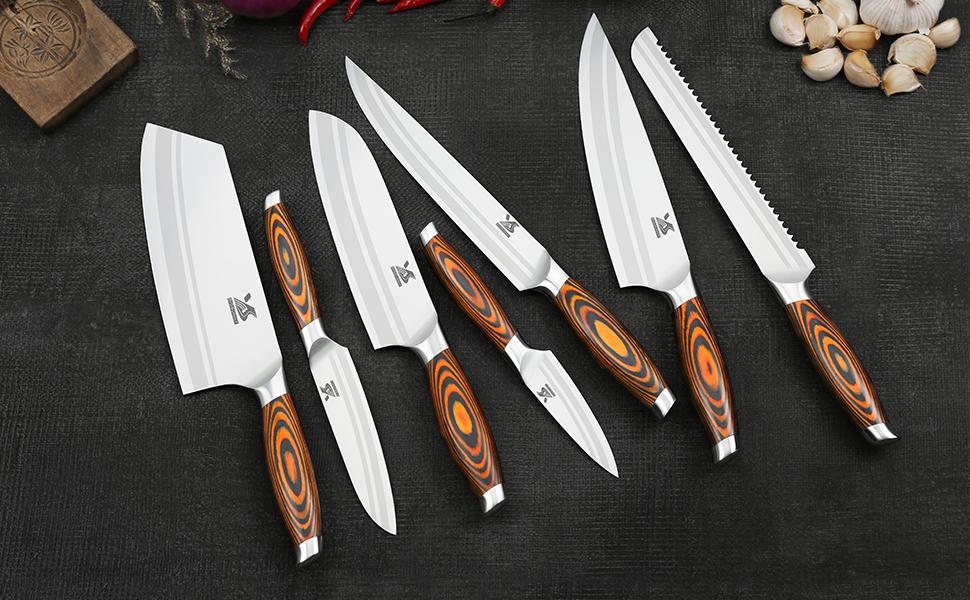 German steel knife set  chef knife meat knife slicing knife santoku knife bread knife utility knife