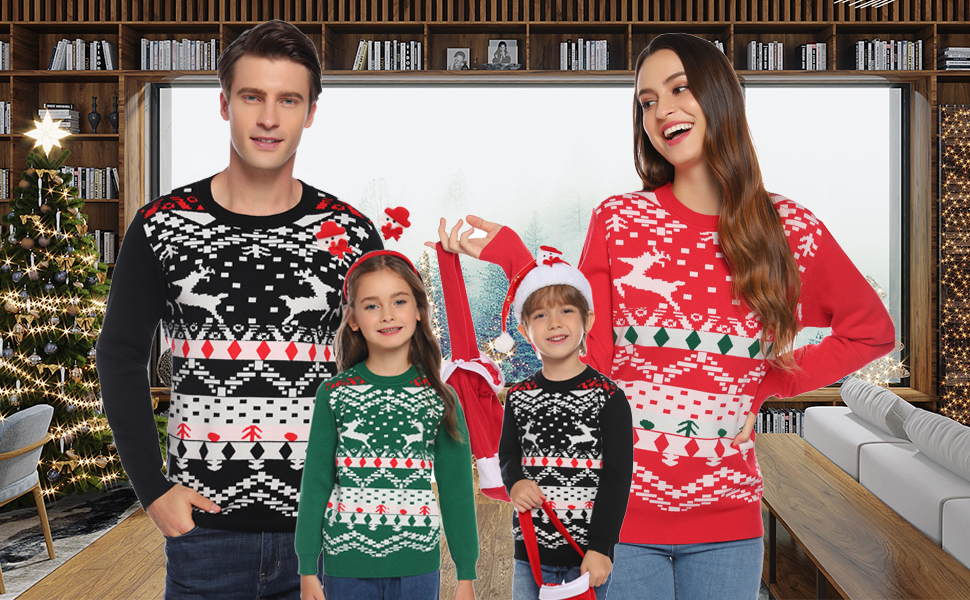 Amazon Com Abollria Christmas Sweater For Family Matching Ugly Christmas Reindeer Knitted Sweater Pullover Dad Mom Kids Clothing