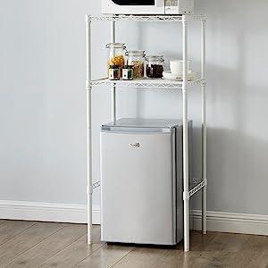 double height mini fridge shelf dorms college students studio apartments space saving furniture
