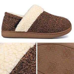 5-MERRIMAC Women's Hearth Fuzzy Memory Foam Closed Back Slipper Anti-Skid Breathable House Shoes