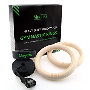 MUEUSS Gymnastic Rings Wooden Gym Rings with Adjustable Straps Olympic Exercise Rings Strength Training Fitness Rings Heavy Duty Gym Equipment for Training Workout Gymnastics