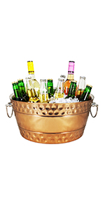 double walled insulated beverage tub for parties rose copper hammered bolt leak proof