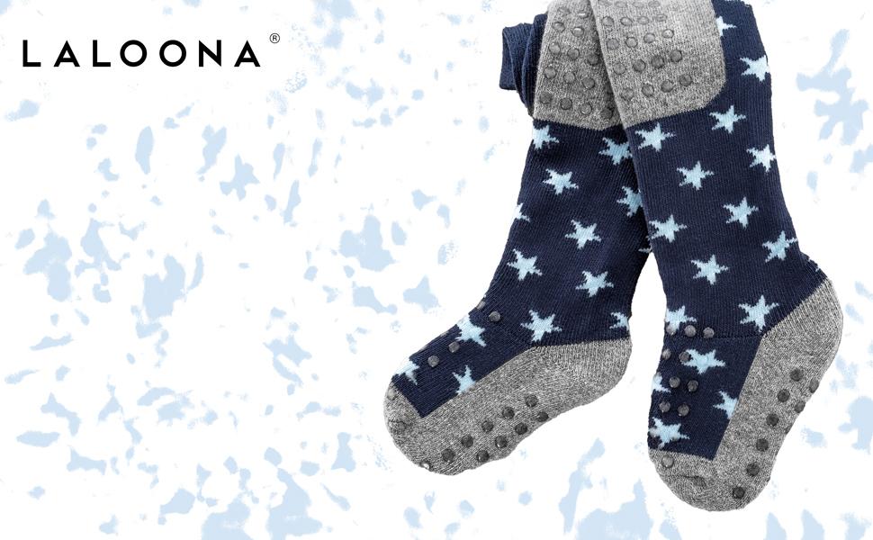 Leotardos antideslizantes con puntos para ni/ños Estrellas-Azul Leotardos para gatear con suela ABS Laloona Baby