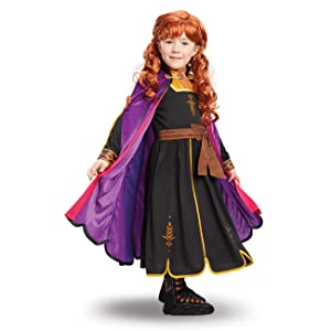 anna costume closeup, movie hero, colorful cape, black dress, red curly wig, jacket