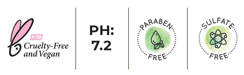 cruelty free, vegan, natural ingredient, paraben free, sulfate free