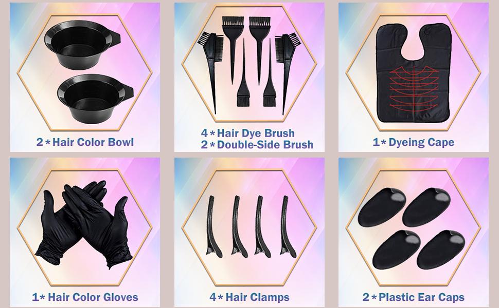 Herramientas para teñir el Cabello, Kit de Pelo Tinte Herramientas, Kit de Herramientas para Coloración, Tinte de Peluquería, Tazón, Cepillos, Peine y ...