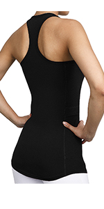 Racerback Yoga Workout Tank Top with Side Pocket