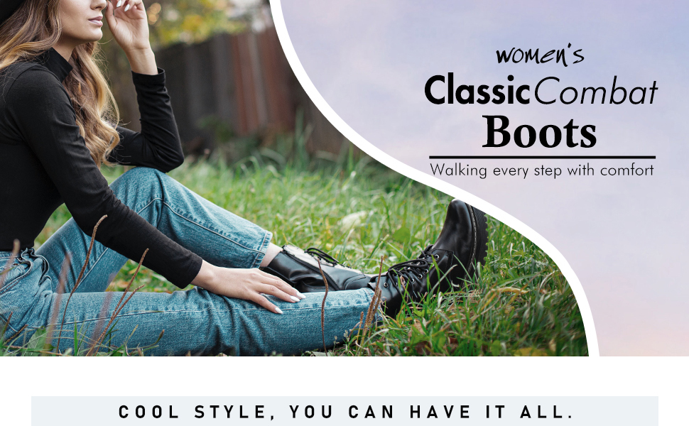 Hawkwell Women's Combat Boots Side Zipper Lace up Ankle Booties