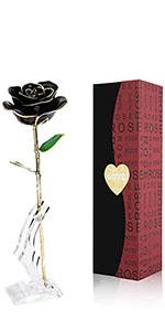 Gold Dipped Rose Black