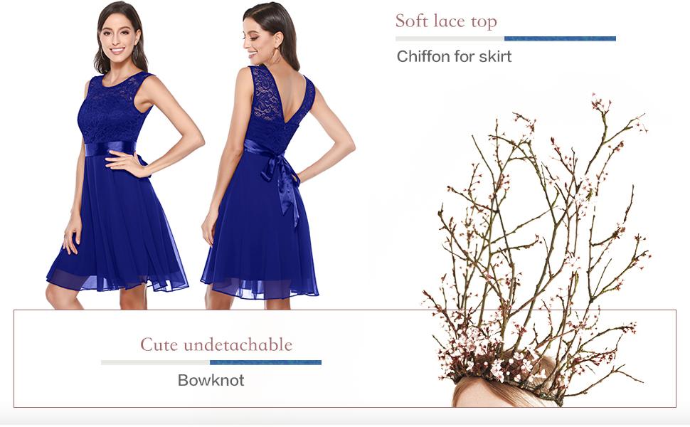 BeryLove Women's Short Floral Lace Bridesmaid Dress A-line Swing Party Dress