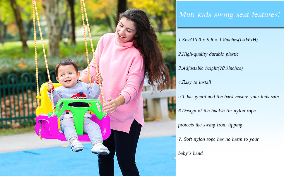 Babby Swing Seat 3-en-1 Childrens Childs Toddler Ajustable Outdoor Garden Rope Safety Safe Swing Seat Gran Regalo para Beb/és Peque/ños Ni/ños