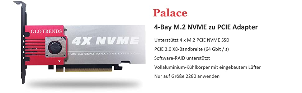 Glotrends 4 Bay M 2 Nvme Adapter Motherboard Ohne Bifurkation Soft Raid Pcie 3 0 X8 Bandbreite Vollaluminium Panel Mit Integriertem Lüfter Palace Computer Zubehör