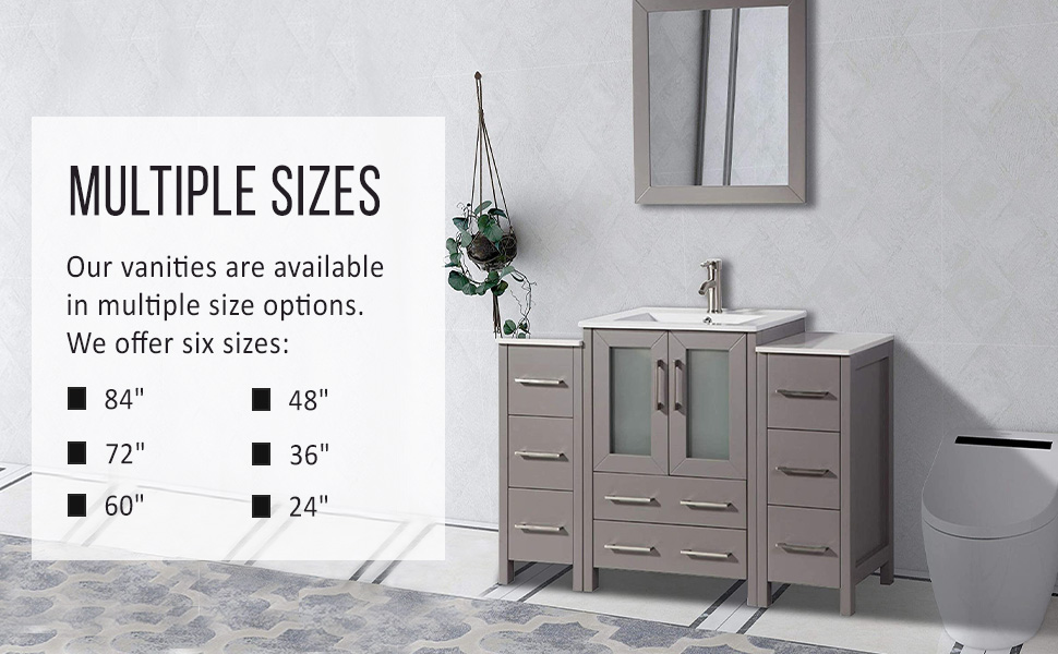 Amazon Com Vanity Art 36 Inch Single Sink Modern Bathroom Vanity Combo Set 1 Side Cabinet 1 Shelf 5 Drawers Ceramic Top Bathroom Cabinet With Free Mirror Va3024 36 E Kitchen Dining