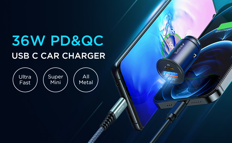 USB C Car Charger PD 3.0&QC 3.0 Fast Charge Dual Port Compact Size Car Plug