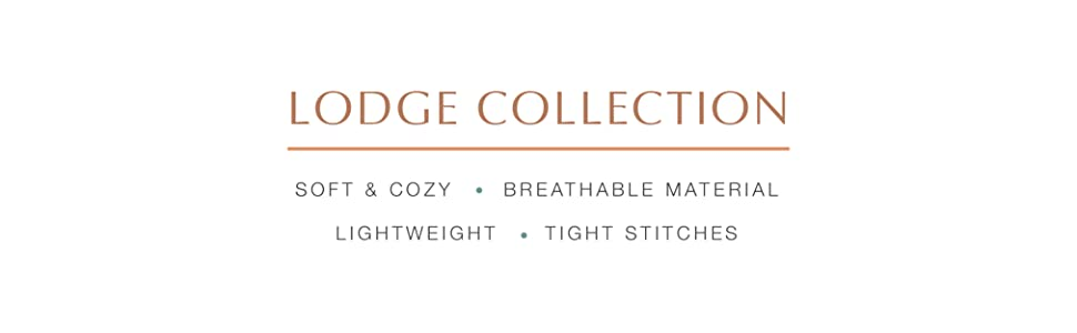 """Text reads """"Lodge Collection Bedding Set: Cabin Quilt and Pillows, Cozy and Soft Blanket Set"""""""
