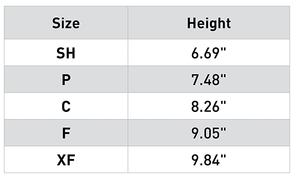 Tendon Boot Size Chart