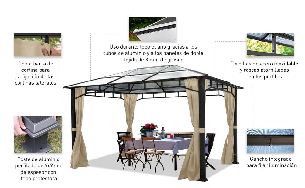 TOOLPORT Cenador de jardín 3x4 m Aluminio Techo de policarbonato ...